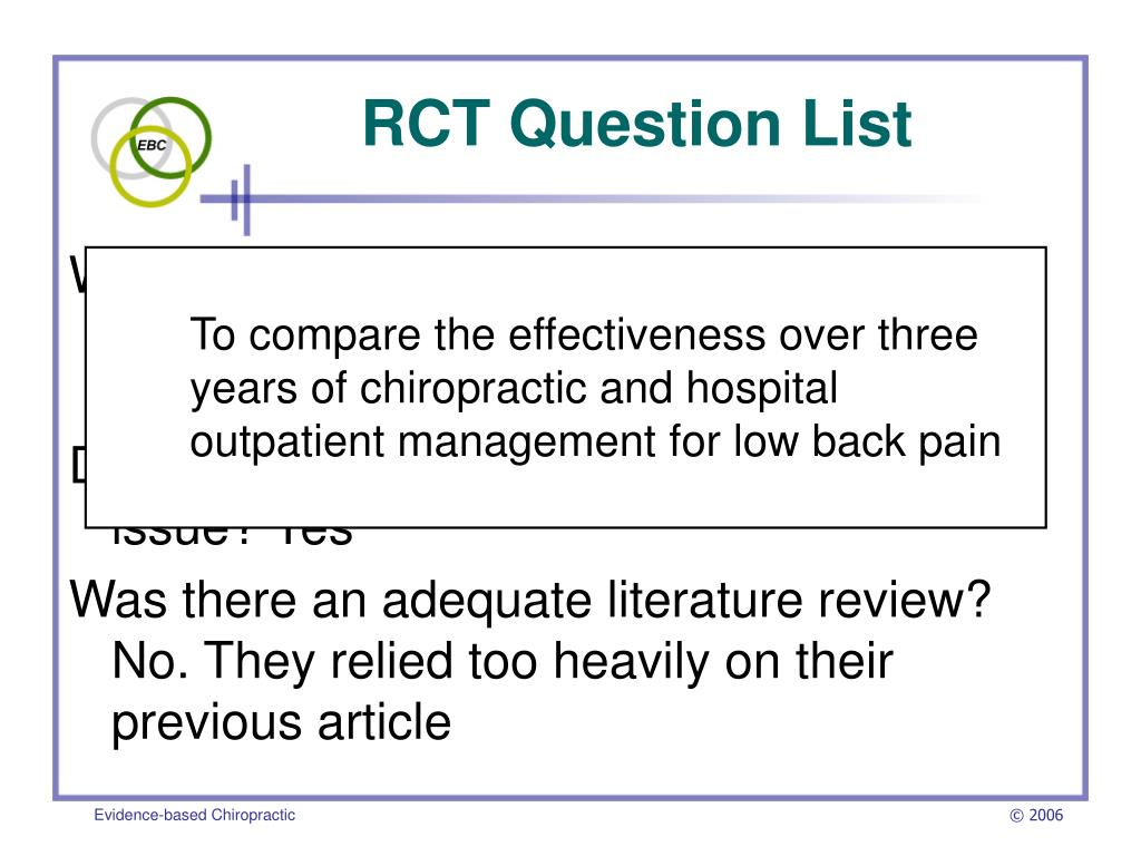 RCT Question List