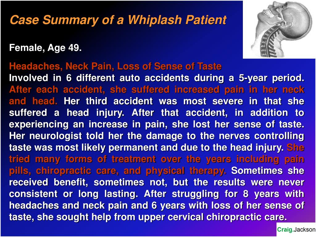 Case Summary of a Whiplash Patient