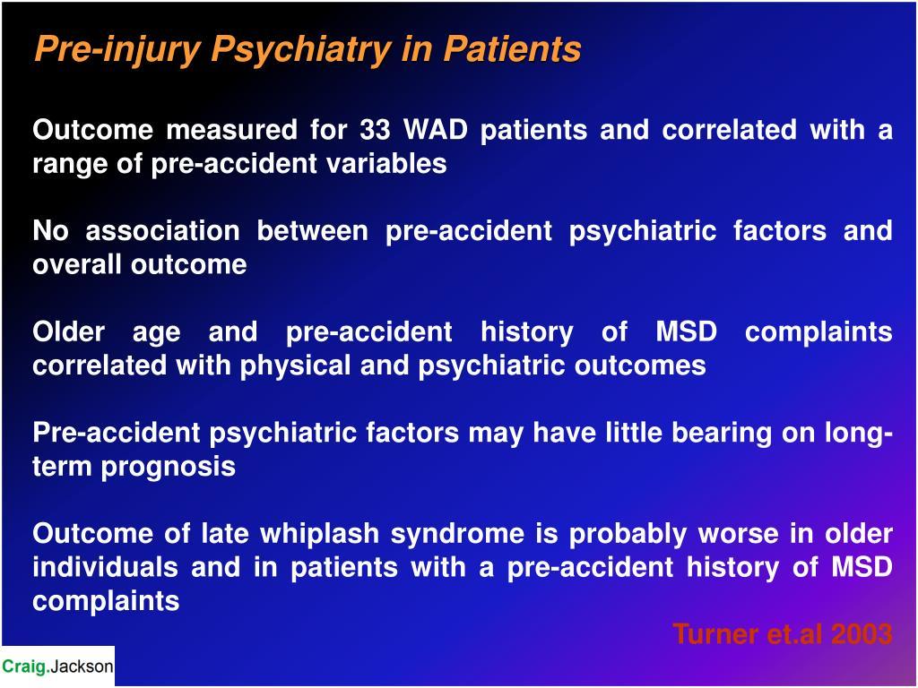 Pre-injury Psychiatry in Patients