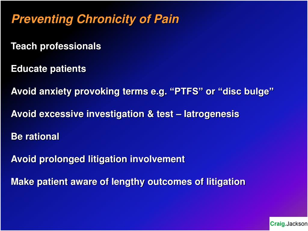 Preventing Chronicity of Pain