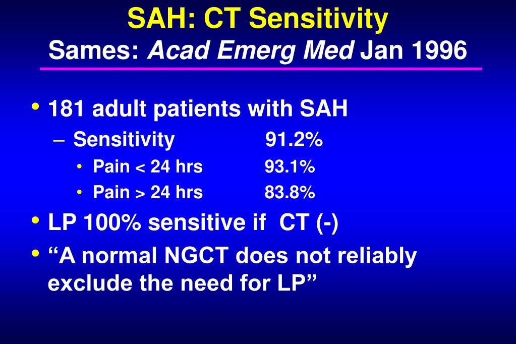 SAH: CT Sensitivity