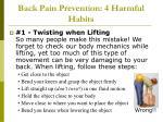 back pain prevention 4 harmful habits