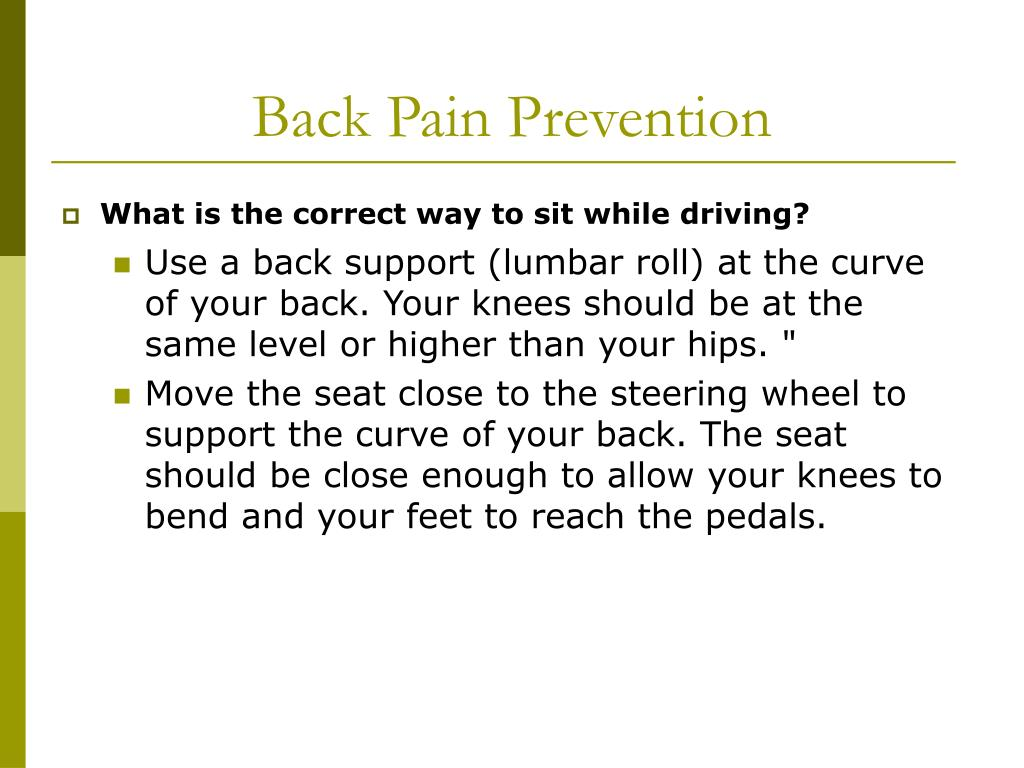 Back Pain Prevention
