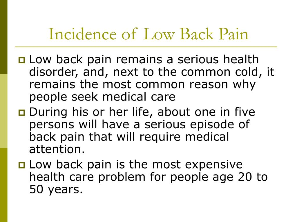 Incidence of Low Back Pain