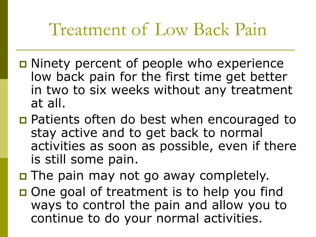 Treatment of Low Back Pain
