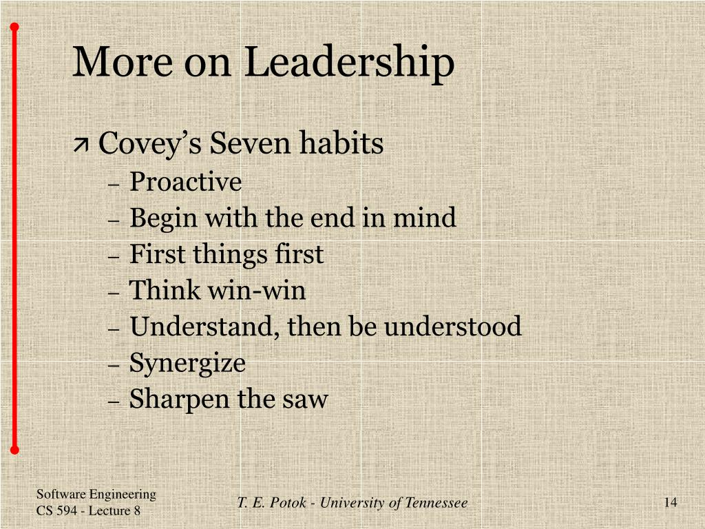 More on Leadership