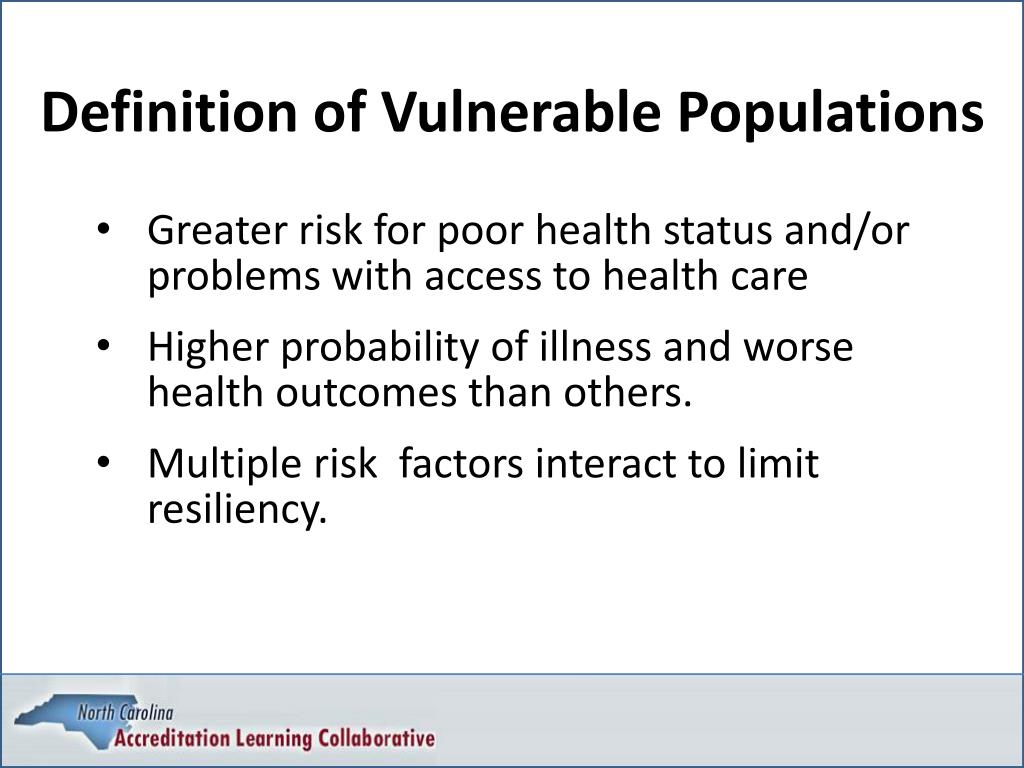 Definition of Vulnerable Populations