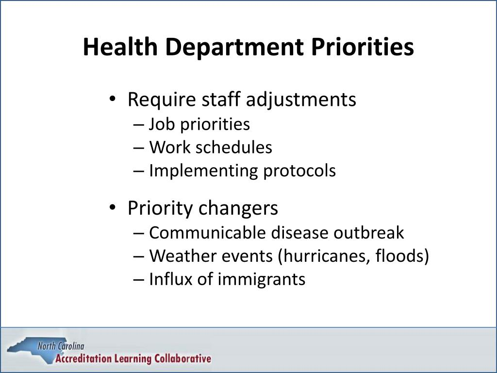 Health Department Priorities