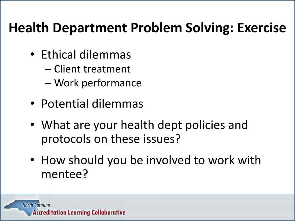 Health Department Problem Solving: Exercise