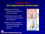 low back pain disc degeneration and herniation