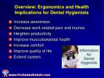 overview ergonomics and health implications for dental hygienists