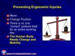 preventing ergonomic injuries