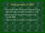 management of lbp