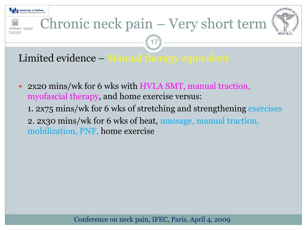 Chronic neck pain – Very short term
