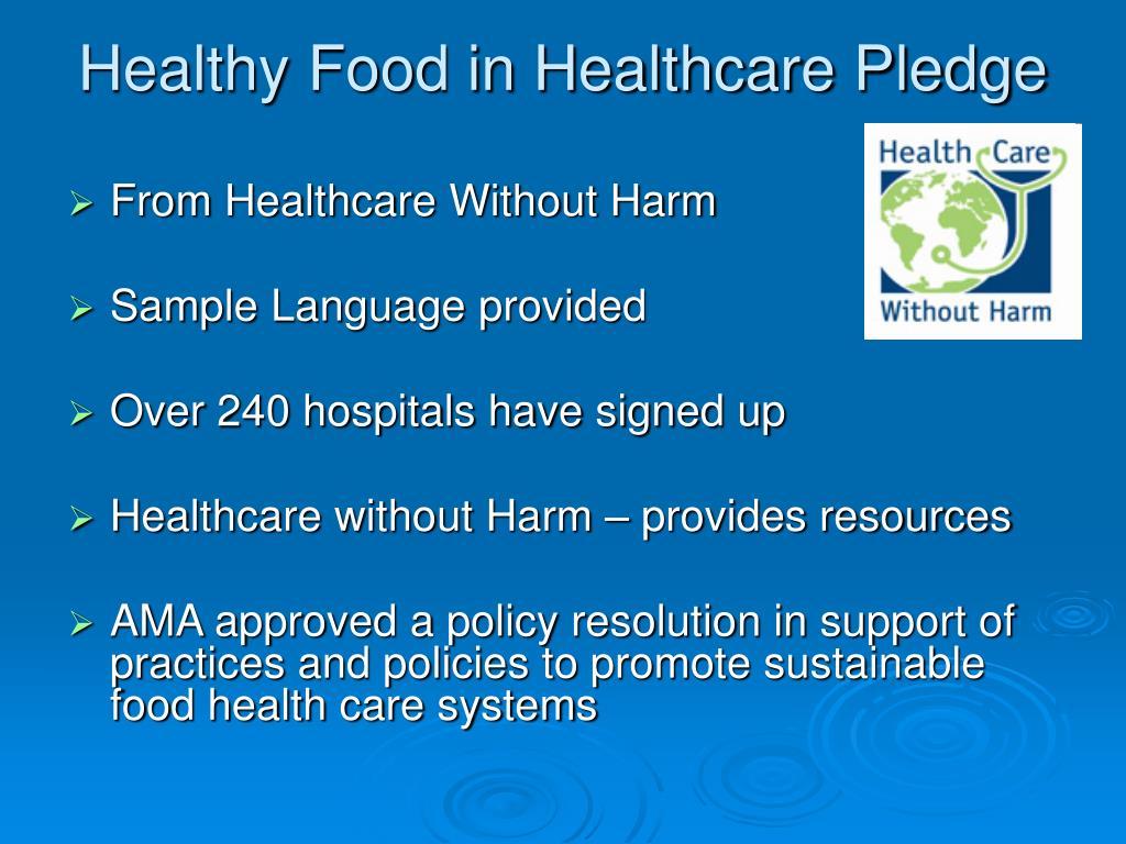 Healthy Food in Healthcare Pledge