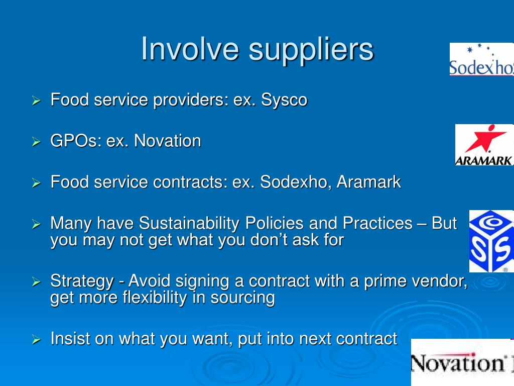 Involve suppliers