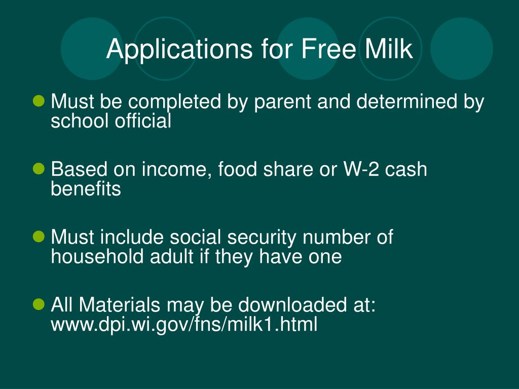 Applications for Free Milk