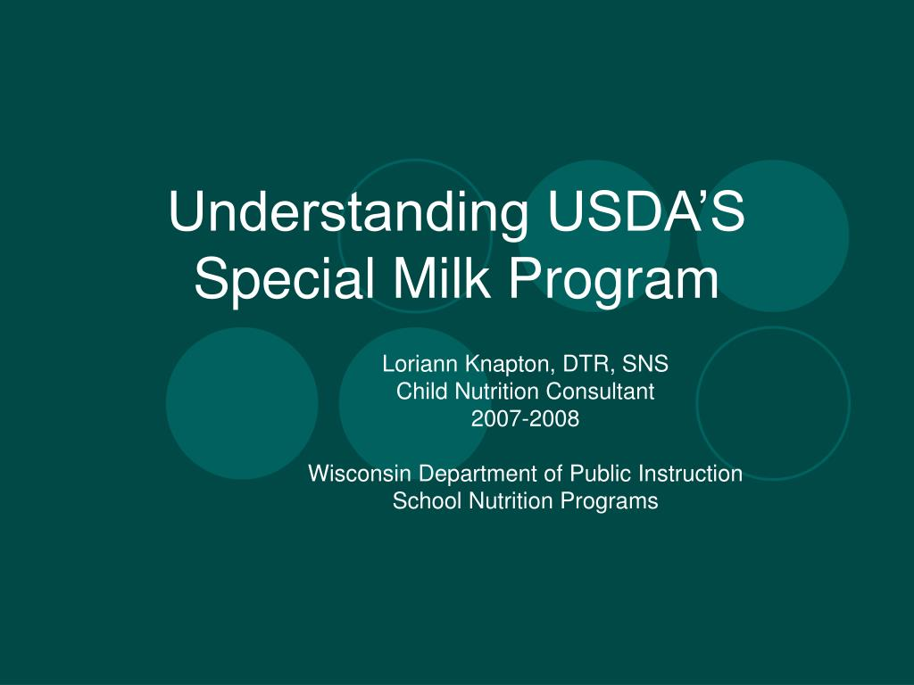 Understanding USDA'S  Special Milk Program