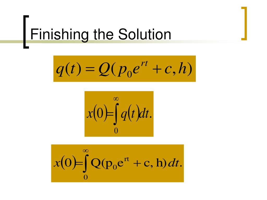 Finishing the Solution