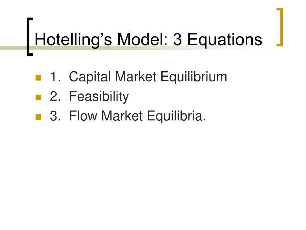 Hotelling's Model: 3 Equations