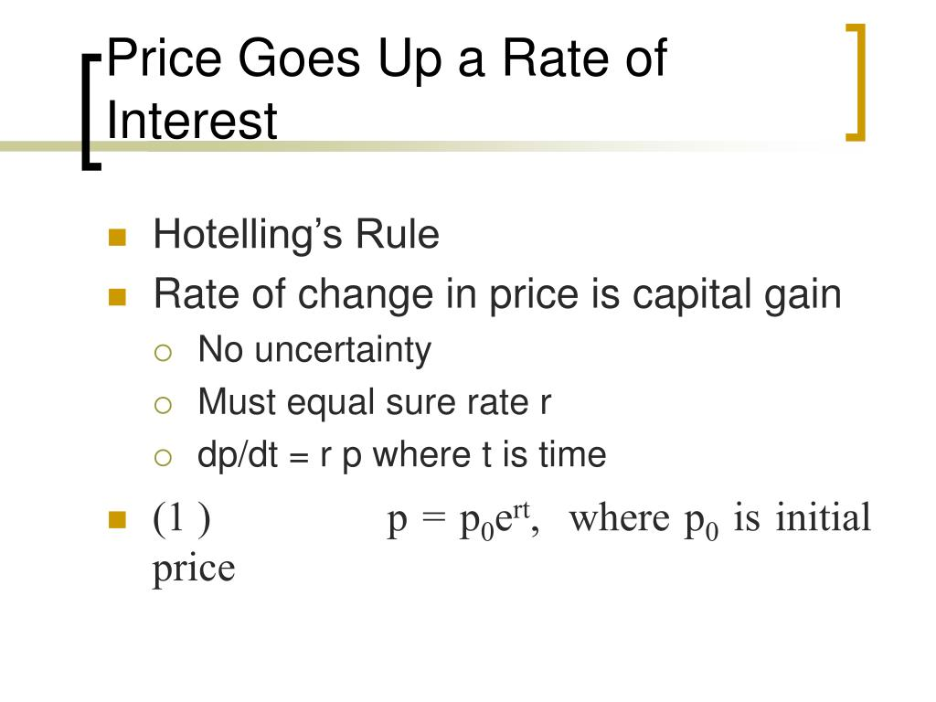 Price Goes Up a Rate of Interest