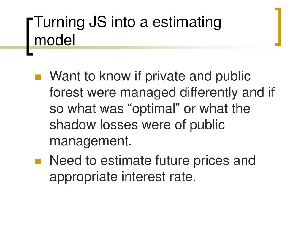Turning JS into a estimating model
