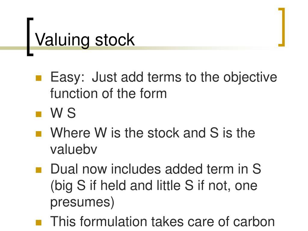 Valuing stock