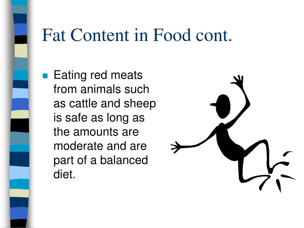 Fat Content in Food cont.