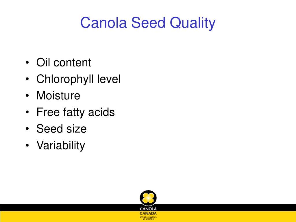 Canola Seed Quality