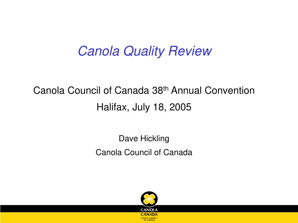 Canola Quality Review