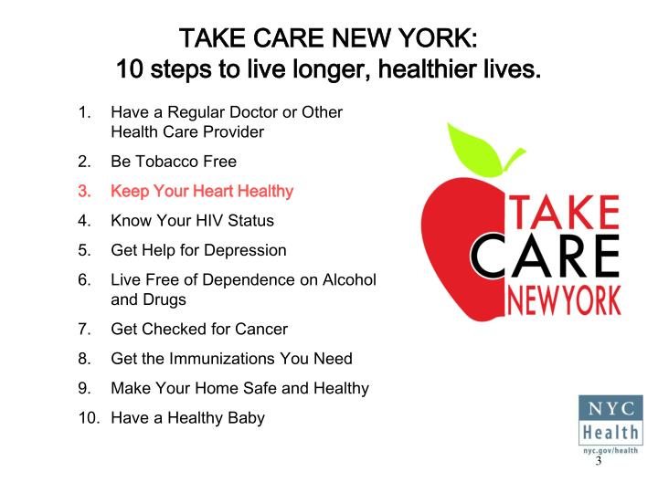 Take care new york 10 steps to live longer healthier lives