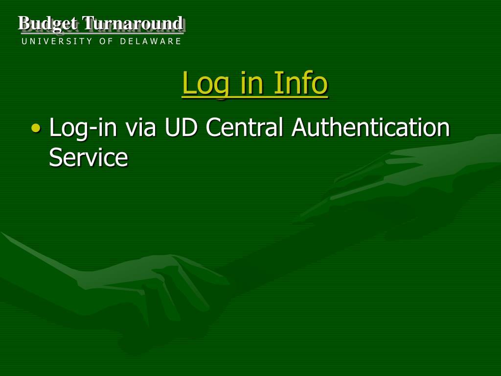 Log in Info