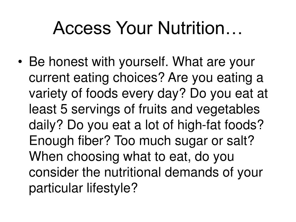 Access Your Nutrition…