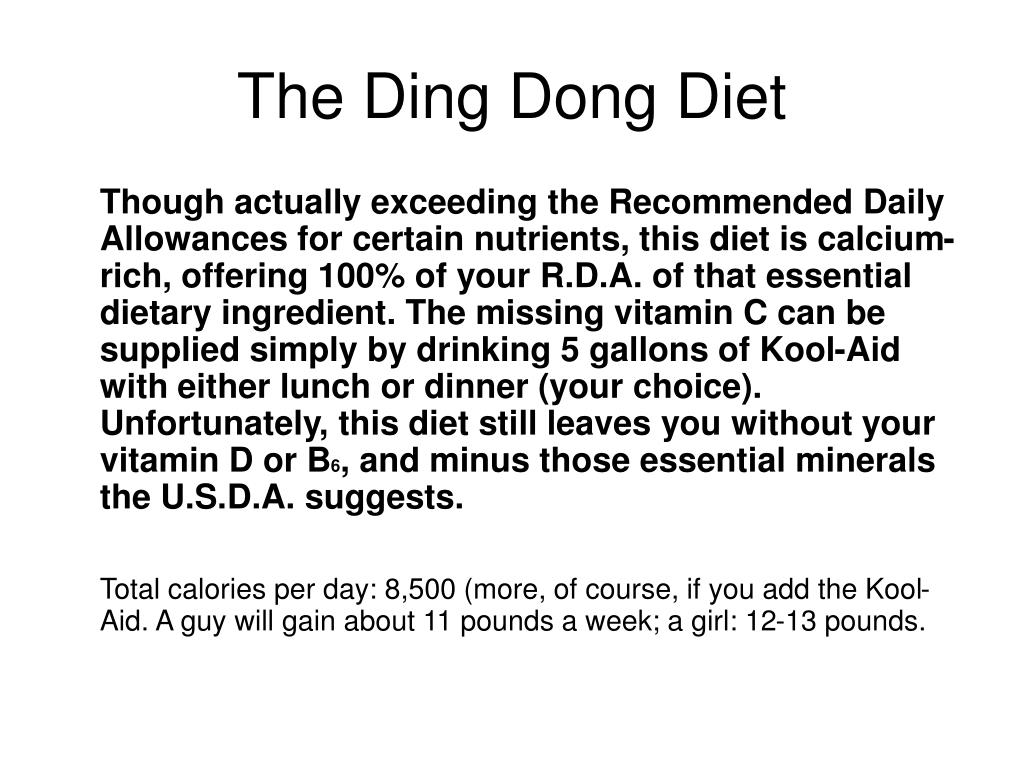 The Ding Dong Diet