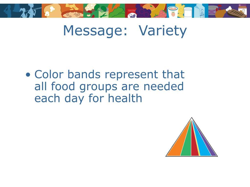 Message:  Variety