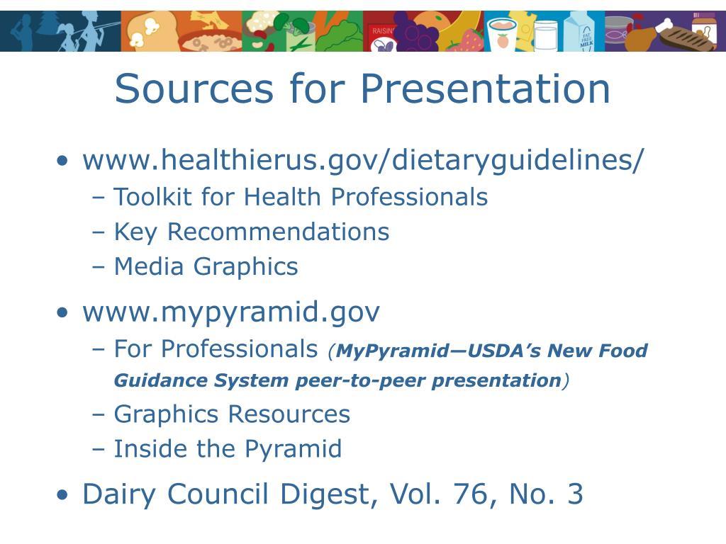 Sources for Presentation