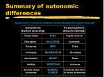 summary of autonomic differences