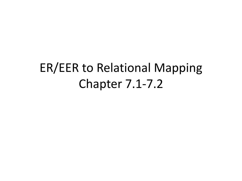 ER/EER to Relational Mapping