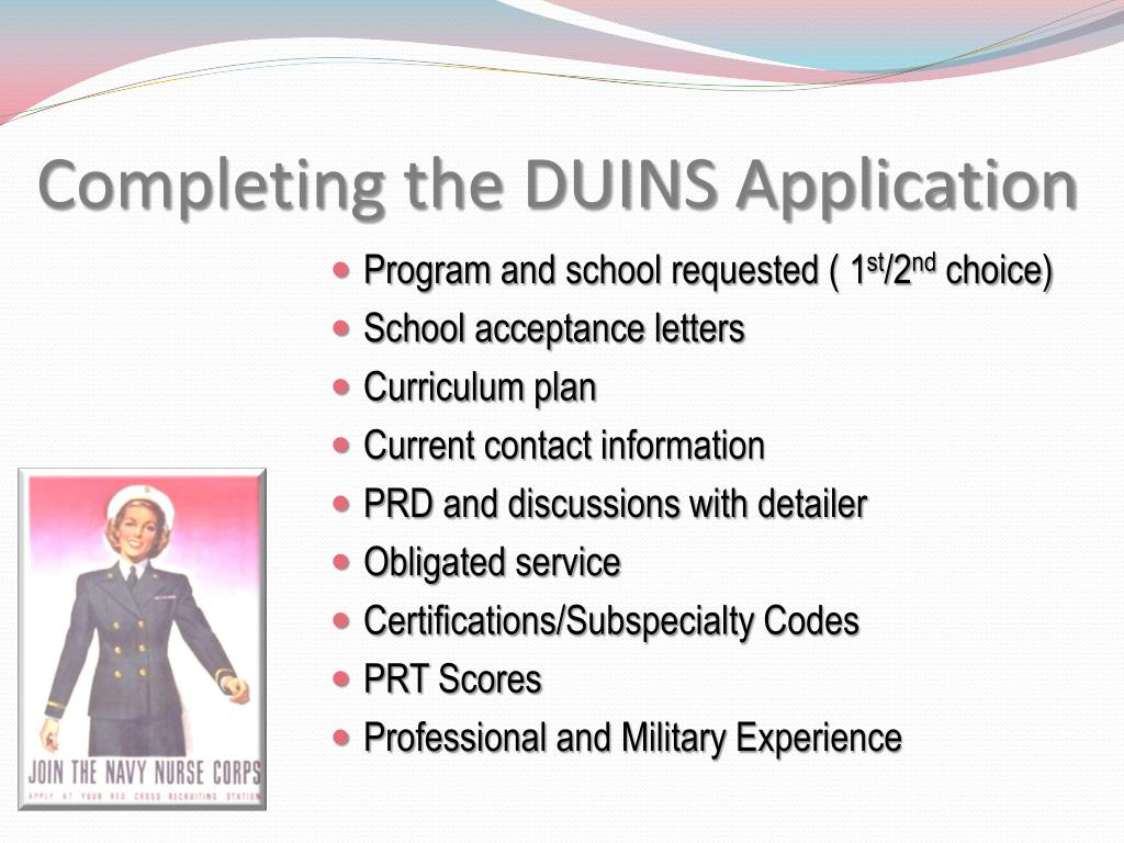Completing the DUINS Application