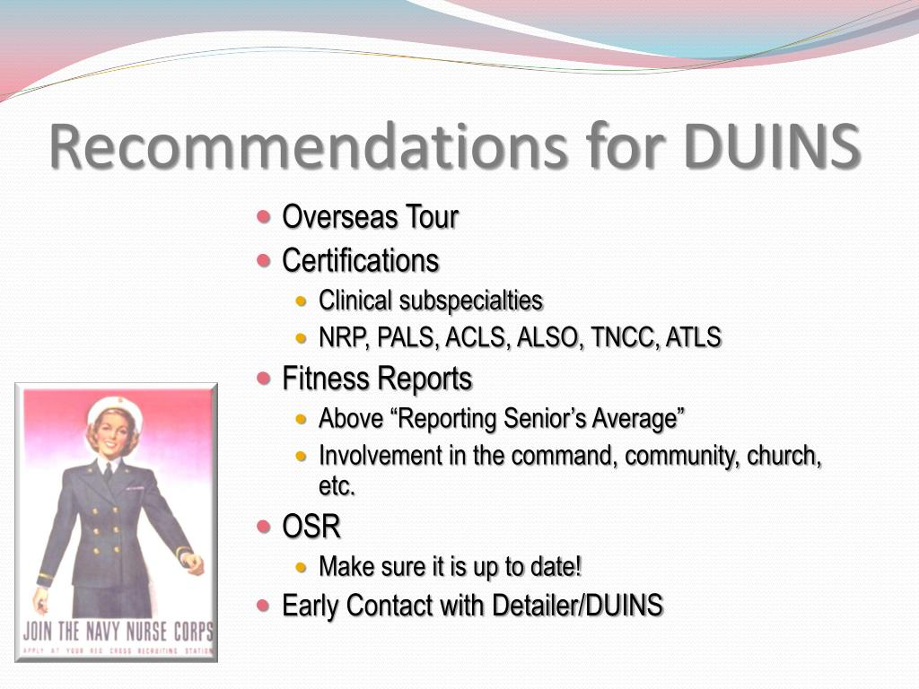Recommendations for DUINS