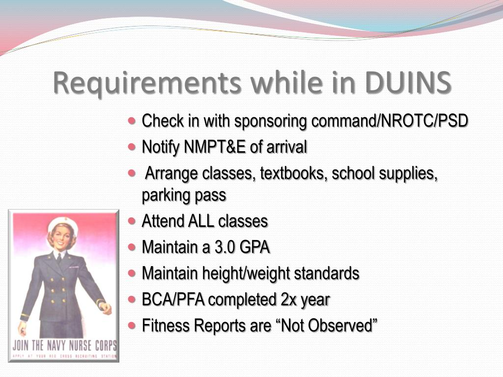 Requirements while in DUINS