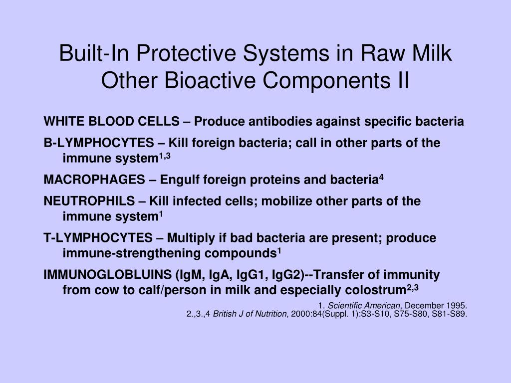 Built-In Protective Systems in Raw Milk Other Bioactive Components II