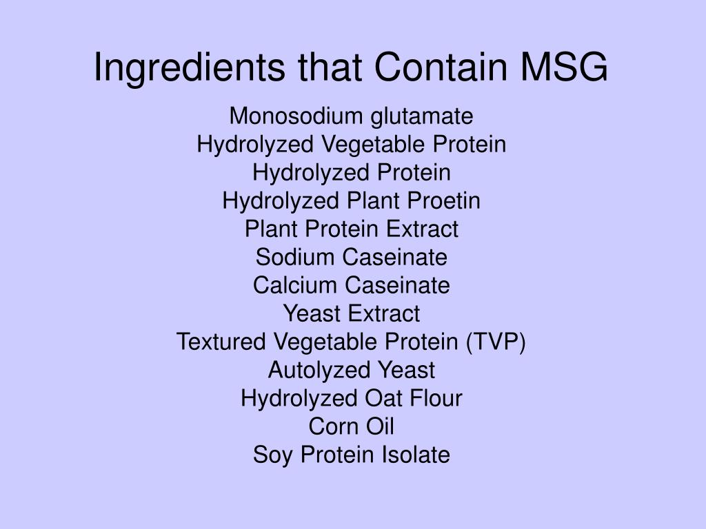 Ingredients that Contain MSG