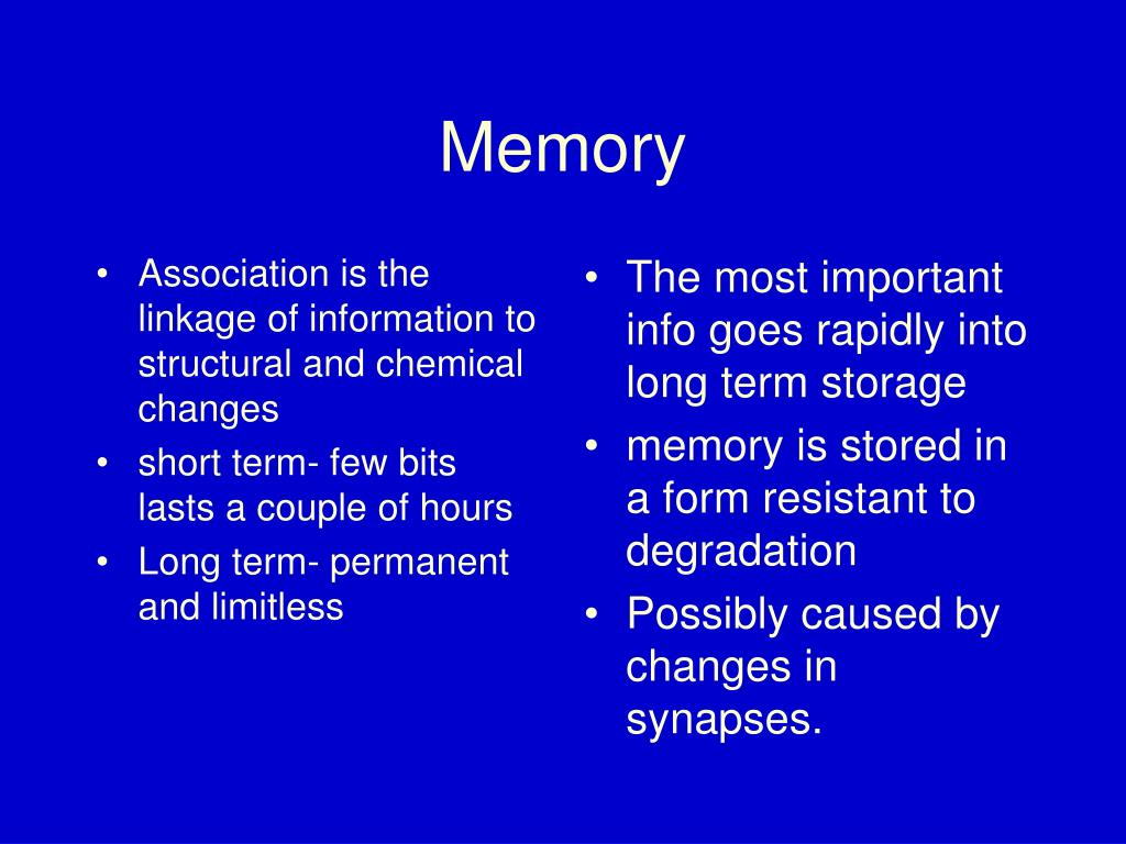 Association is the linkage of information to structural and chemical changes