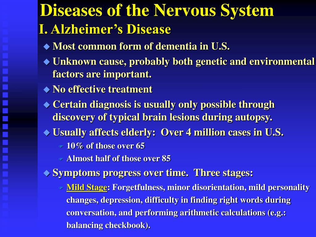 I. Alzheimer's Disease