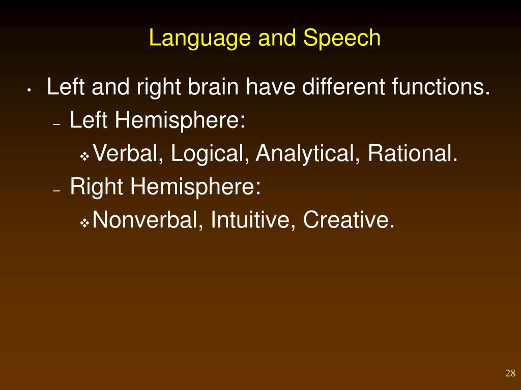 Language and Speech