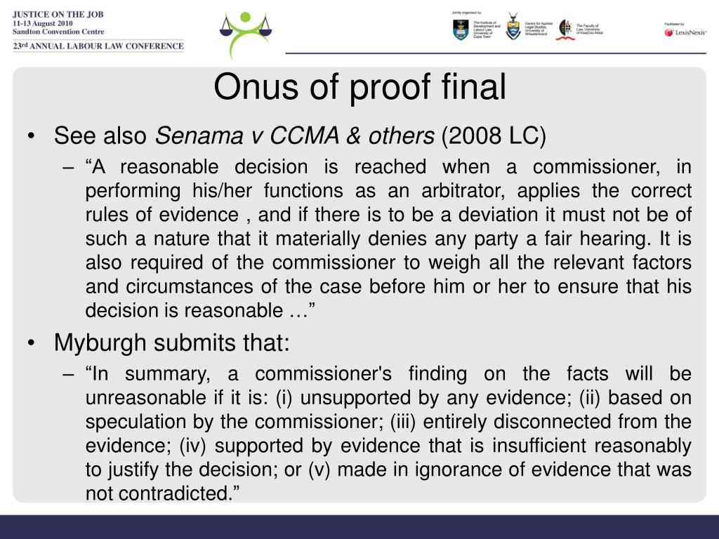 Onus of proof final