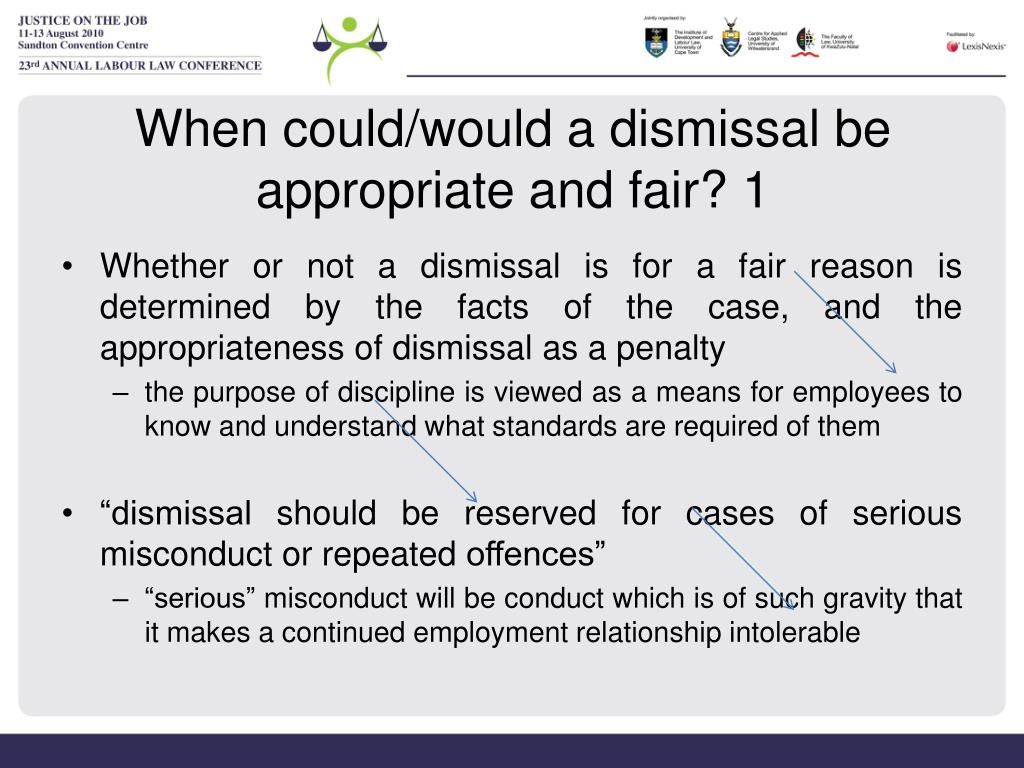When could/would a dismissal be appropriate and fair? 1