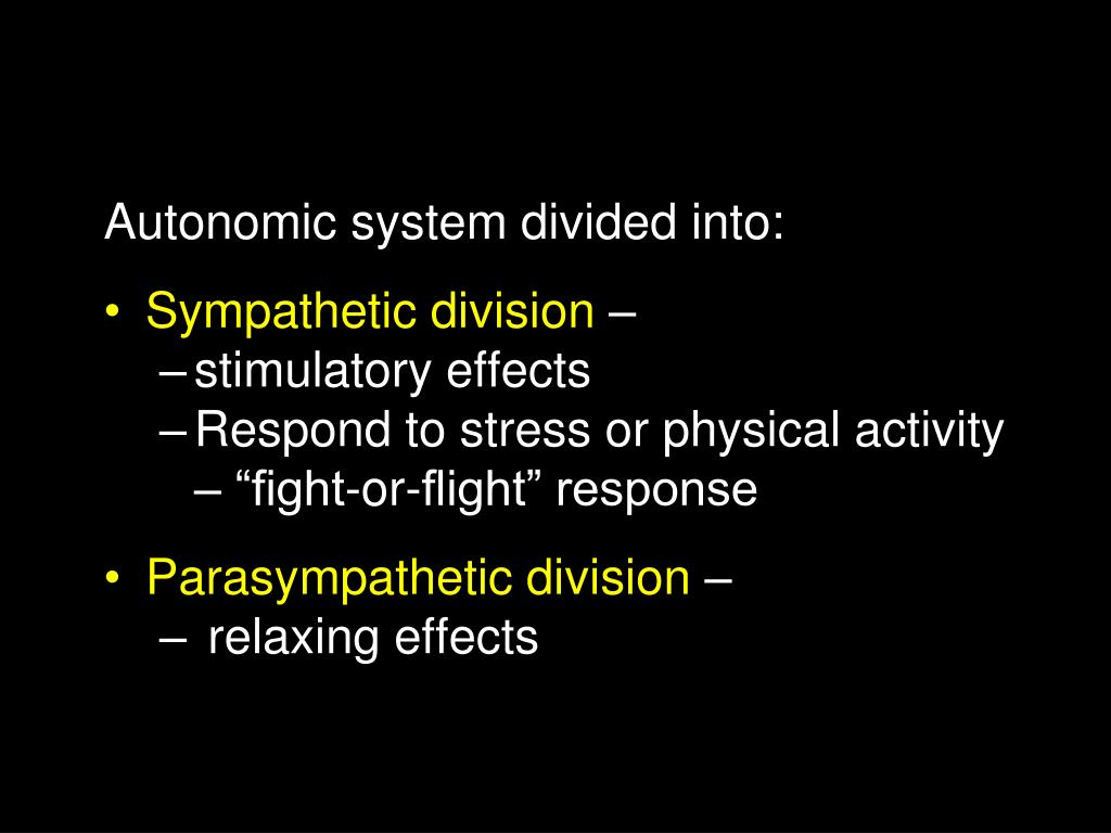 Autonomic system divided into:
