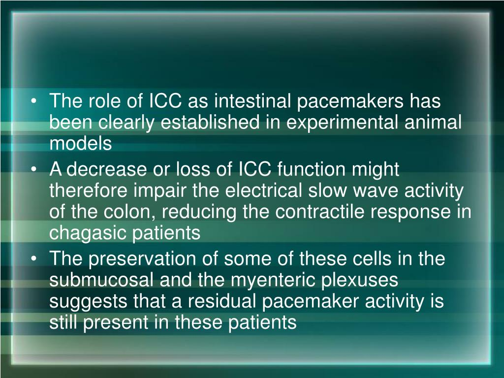 The role of ICC as intestinal pacemakers has been clearly established in experimental animal models